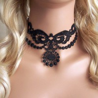 Black lace choker necklace | StitchesFromTheHeart - Jewelry on ArtFire
