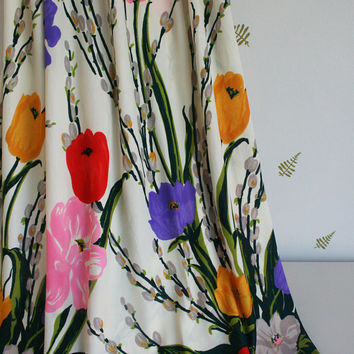 vintage 60s 70s maxi dress / julie miller / colorful floral print / pussywillows + wildflowers / x-small / small