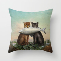 Enjoy Your Dinner Throw Pillow by Christian Schloe