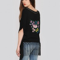 Embroidered Fringe Blouse