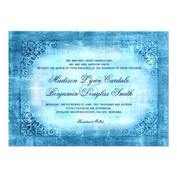 Rustic Vintage Frame Blue Wedding Invitations