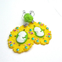 Huge yellow and lime green cameo earrings - Harajuku fashion earrings - big funky earrings by Sparkle City Jewelry