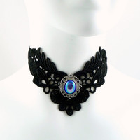 Black Lace Choker Necklace with Blue Vintage Iridescent by Arthlin