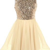Glow Forth Dress | Champagne Gold Sequin Tutu Prom Dresses | RicketyRack.com