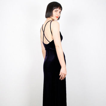 Vintage 90s Dress Dark Purple Velvet Dress Backless Dress Maxi Dress 1990s dress Goth Dress Grunge Club Kid Dress Halter Gown XS S Small M