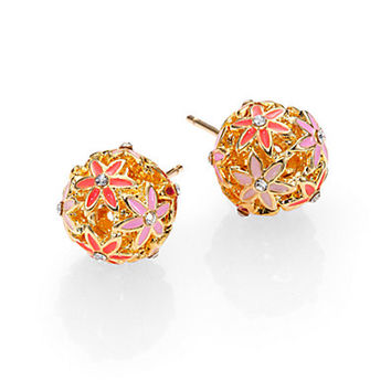 Wallflower Enamel Stud Earrings