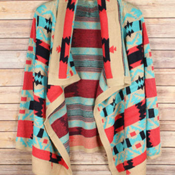 Emily Coral Aztec Sweater - Shop Twenty Something