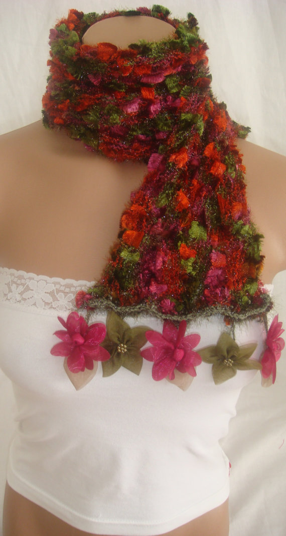 Hand knitted colorful elegant scarf by Arzus on Etsy