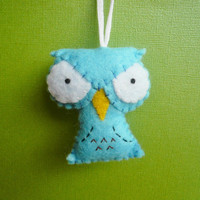 Felt blue Owl Ornament handmade animal plush by TheOffbeatBear