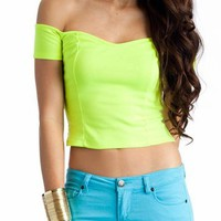 off shoulder crop top $14.00 in BLACK IVORY LAVENDER LTPINK NEONORANGE NEONPINK NEONYELLOW ROYALBLUE SEAFOAM TAUPE - New Tops | GoJane.com