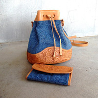 $62.00 Vintage Denim and Leather Purse with Matching Wallet by SouthwestVintage