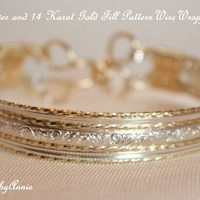 STERLING SILVER AND 14 KT GOLD FILL PATTERN WIRE BRACELET | IMPRESSIONSbyAnnie - Jewelry on ArtFire