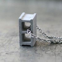 Handmade Gifts | Independent Design | Vintage Goods Cement Cinder Block Necklace