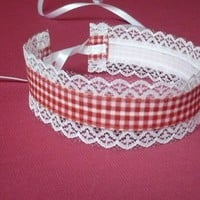 Sweet Red and White Lolita Choker Country and EGL by estylissimo