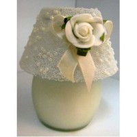 100% Soy Wax Vanilla lamp- flower ribbon with pearl scented candle