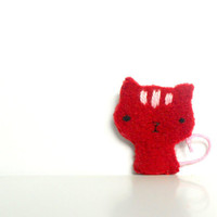Soft Fiber Red Cat brooch Fleece Red and white by baraqada on Etsy