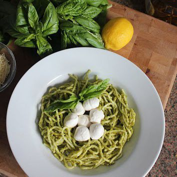 Basil and Garlic Pesto with nested Mozzarella « Wee Foodie Fashionista