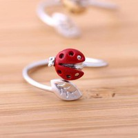 red ladybug leaf ring adjustable by bythecoco on Zibbet