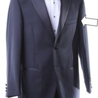 Men&#x27;s Super 140s Black Stretch Wool Tuxedo Jacket