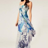 Multi Cocktail Dress - Bqueen Printed Celia Ink Splash | UsTrendy