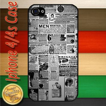 Antique Newspaper Ad Digital Stamps iPhone 4 or 4S Case | Merchanstore - Accessories on ArtFire