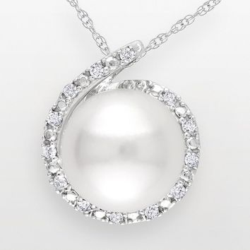 10k White Gold Freshwater Cultured Pearl & Diamond Accent Pendant