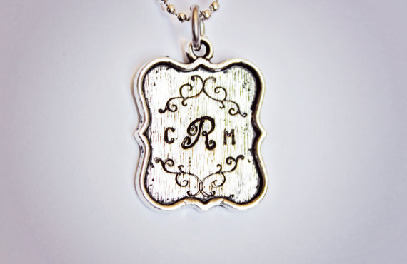 Monogram hand stamped necklace by StampedMemoriesbyMel on Etsy