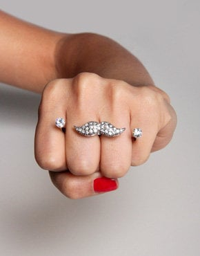 Sparkle Mustache Double Finger Ring in Silver