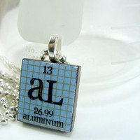 Aluminum Scrabble Periodic Table Necklace by ShopGibberish on Etsy