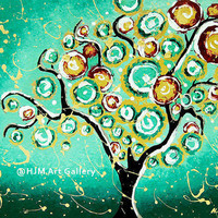Turquoise Tree of Life Inspirational Art Print by hjmArtGallery