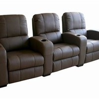 Home Theatre Seating Row Of 3 Brown, Black Home Theater Seats: Nyfurnitureoutlets.com