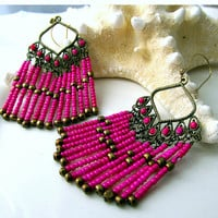 Pink Boho Chic Chandelier Earrings Bohemian Style by ByGerene