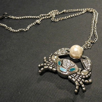 Necklace  crab holding a pearl by courtniefelicia on Etsy
