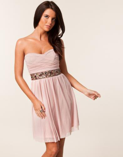 Mesh Strapless Jewel Waist Trim Dress - Elise Ryan - Nude - Festklnningar - Klder - NELLY.COM Mode online p ntet