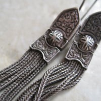 Vintage Turkish Silver Mesh and Niello Earrings by Anteeka