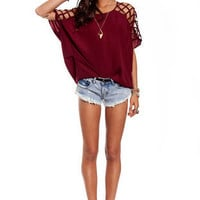 Cross Check Blouse in Burgundy :: tobi