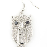 Silver Owl Earrings - Dangling Earrings - $11.00
