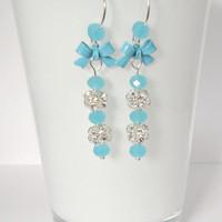 Romantic Blue Bow Earrings