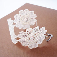Lace Bracelet Ivory Bridesmaids Accessories Bridal Cuff by bytugce