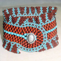 Native American Beaded Bracelet Cherokee Ribbon Cuff | jstinson - Jewelry on ArtFire