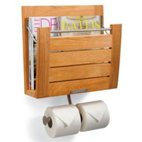 Teak Wall Mount Magazine Rack