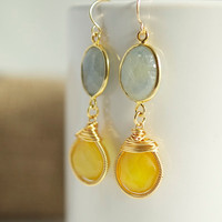 Sapphires with Wire Wrapped Yellow Chalcedony by Jewels2Luv