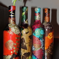 Colorful Lokta Paper Decoupage on Wine by cutelittlecanvases