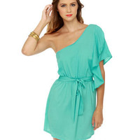 Cute Turquoise Dress - One Shoulder Dress - Ruffle Dress - &amp;#36;32.00