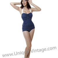 Vintage Swimsuit 50's Style Pin Up Navy with White Polka Dot Bathing Suit - 6 to 18 - Unique Vintage - Bridesmaid & Wedding Dresses