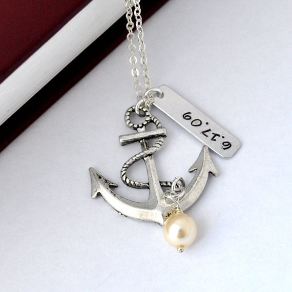Personalized antique anchor necklace keepsake by myjewelrystory