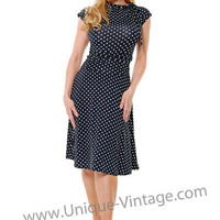 Folter Black & White Polka Dot Bridget Bombshell Dress - S to XL - Unique Vintage - Bridesmaid & Wedding Dresses