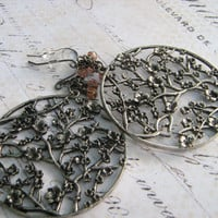 Oxidized Earrings Cherry Blossom Earrings  Cherry by leprintemps