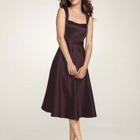 David's Bridal Bridesmaid Dresses Style Satin Wide Strap Tea Length Dress Style F14556