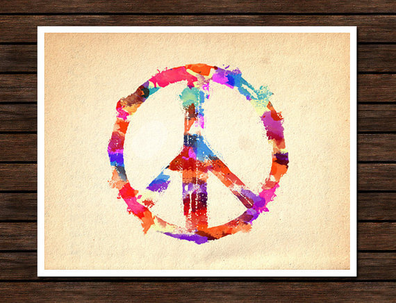 Peace Sign Digital Watercolor by PigmentPunch on Etsy